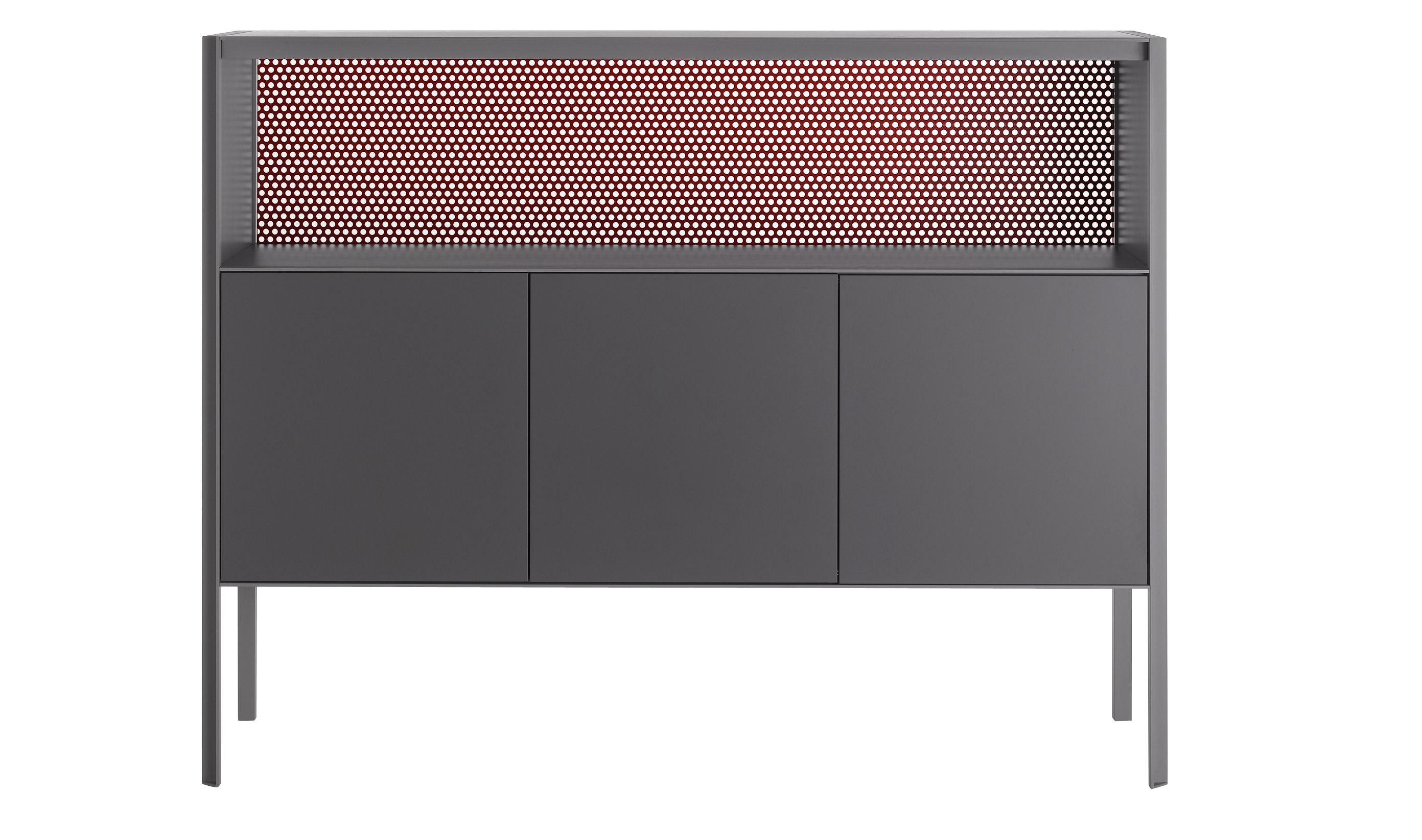 Mobilier - Commodes, buffets & armoires - Buffet Heron / Haut - L 151 x H 116 cm - MDF Italia - Gris & fond rouge / Côtés gris - Contreplaqué laqué, Métal laqué