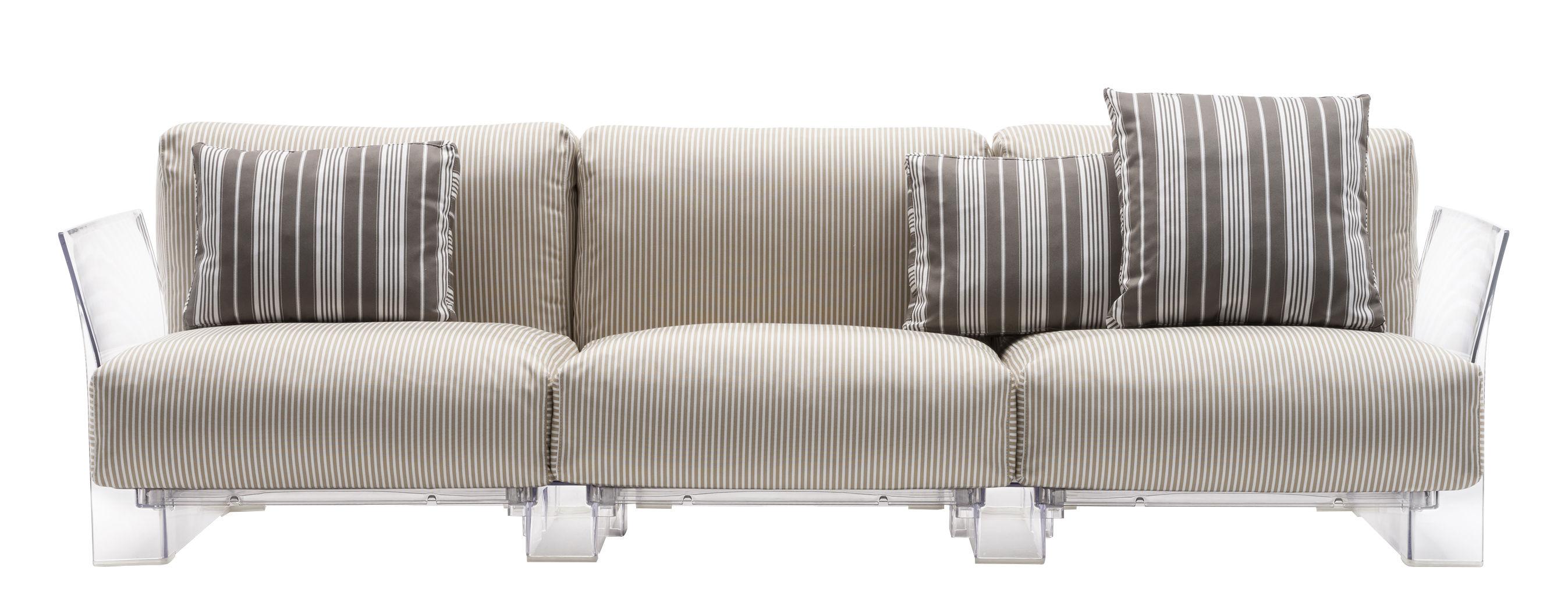 Mobilier - Canapés - Canapé droit Pop outdoor / 3 places - L 255 cm - Kartell - Rayures beiges / Transparent - Polycarbonate, Polyuréthane expansé, Tissu déperlant