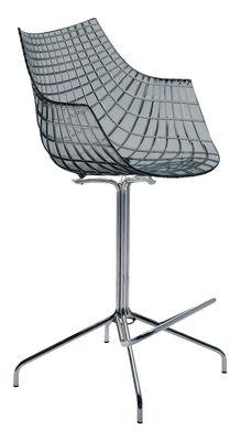 Chaise de bar Meridiana / Pivotante - H 65 cm - Driade fumé gris en matière plastique