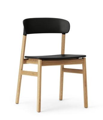 Chaise Herit / Pied chêne - Normann Copenhagen noir,chêne en matière plastique