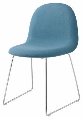 Chaise Rembourree 3d Gubi Coque Bleue Pietement Chrome L 58