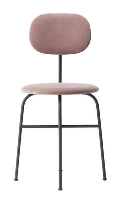 Mobilier - Chaises, fauteuils de salle à manger - Chaise rembourrée Afteroom / Velours - Menu - Velours rose / Noir - Acier poudré, Contreplaqué, Velours
