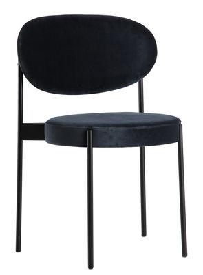 Chaise rembourrée Series 430 Empilable Velours Verpan noir,bleu gris en métal