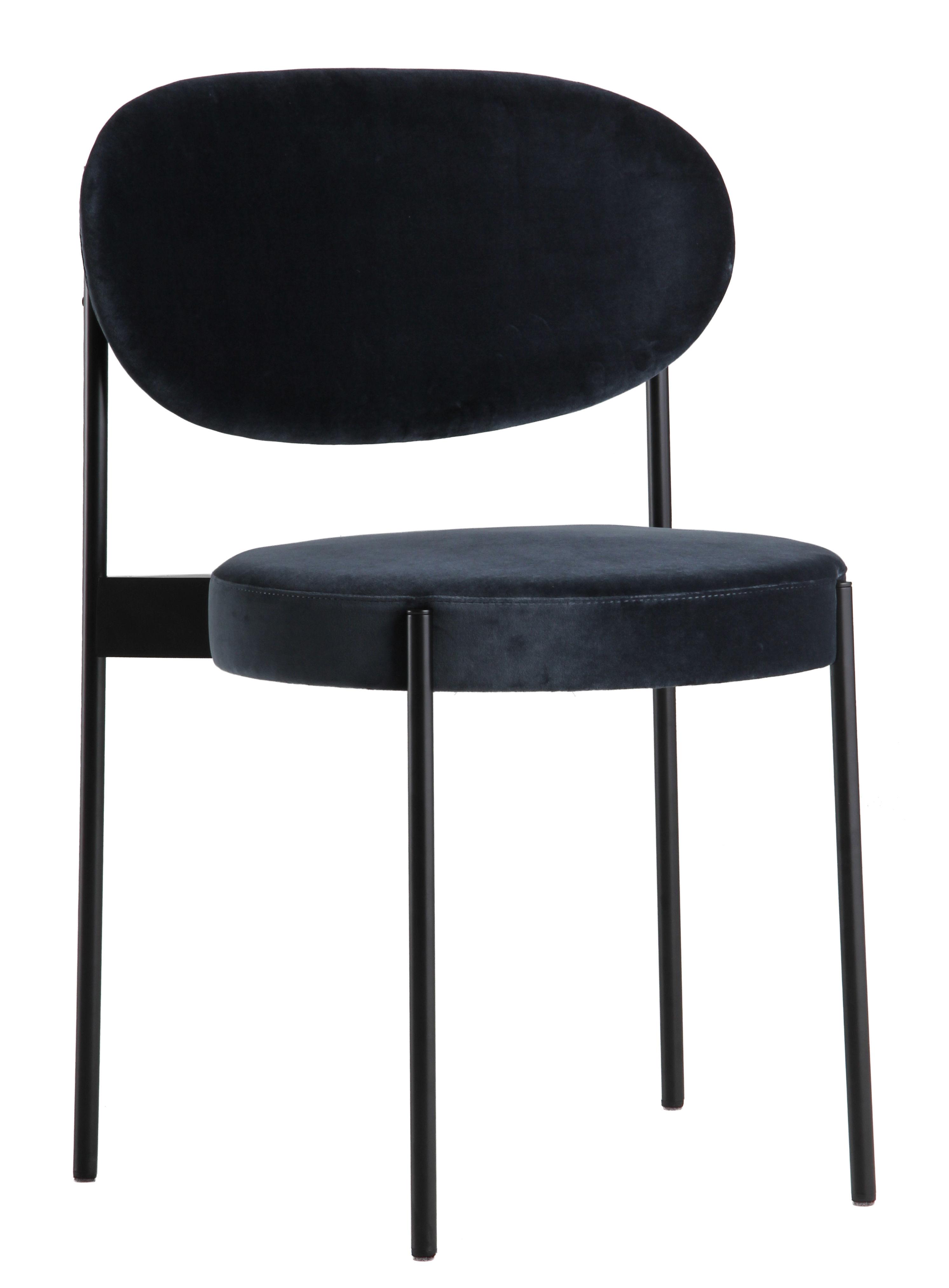 chaise rembourr e series 430 empilable velours velours bleu gris verpan. Black Bedroom Furniture Sets. Home Design Ideas