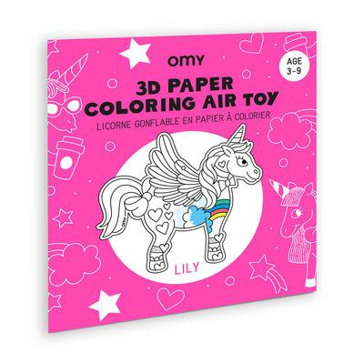 Coloriage 3D à gonfler Lily / Licorne en papier - OMY Design & Play blanc,noir en matière plastique