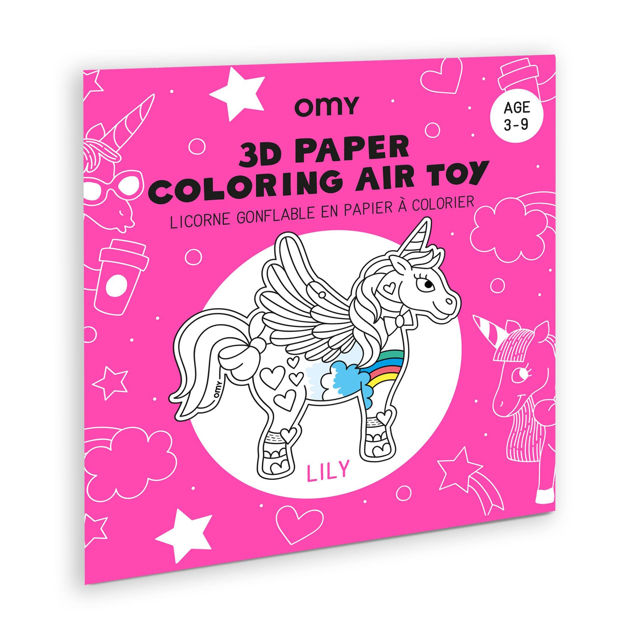 Déco - Pour les enfants - Coloriage 3D à gonfler Lily / Licorne en papier - OMY Design & Play - Lily - Nylon, Papier