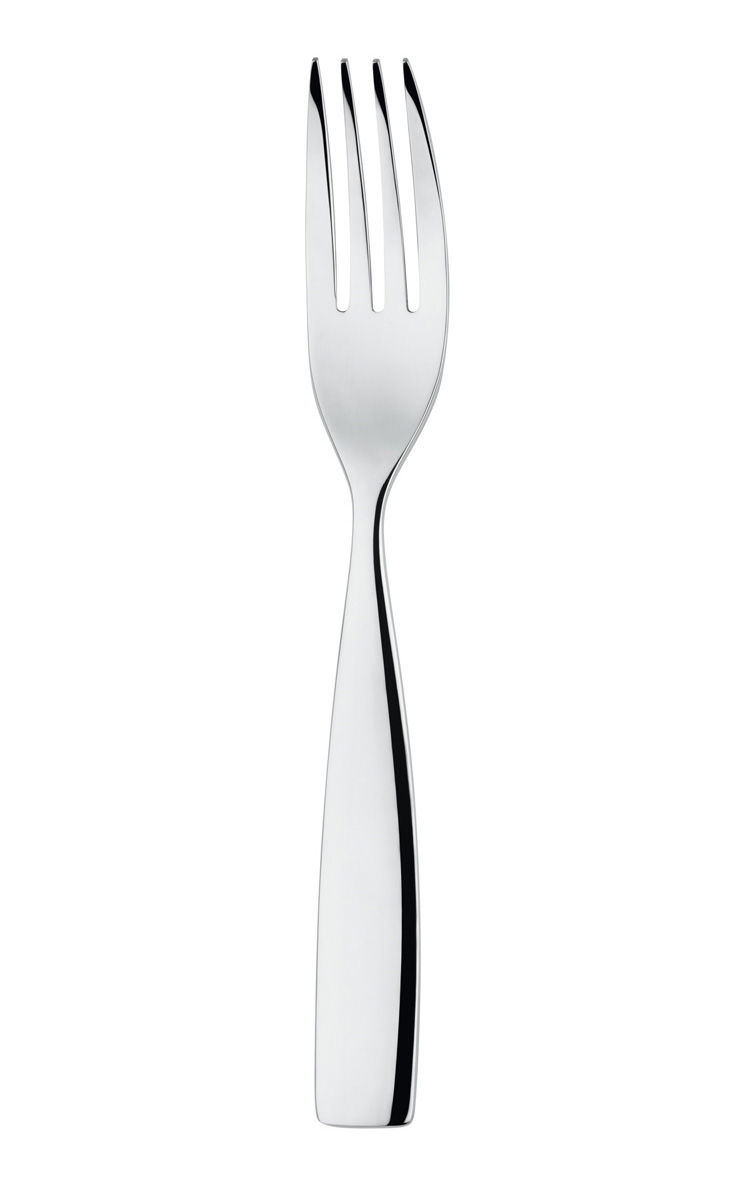 Tableware - Cutlery - Dressed Dessert fork - L 17 cm by Alessi - Mirror polished steel - Stainless steel