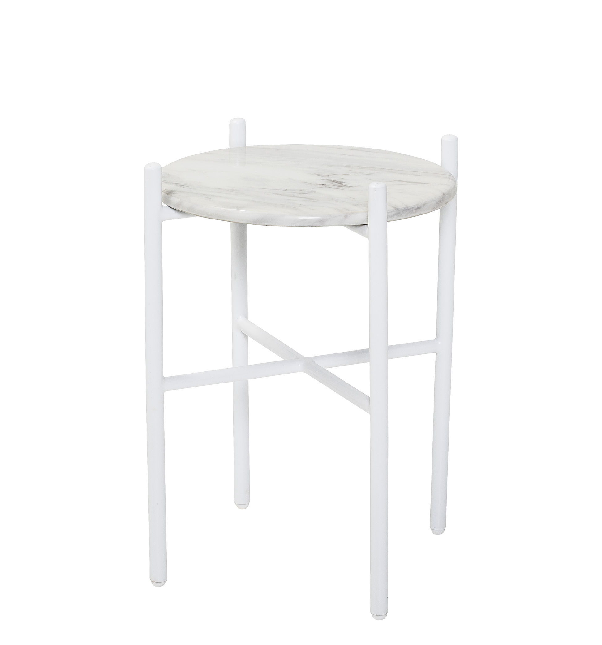 Furniture - Coffee Tables - End table - / Ø 39 x H 50 cm - Marble by Bloomingville - White - Lacquered iron, Marble