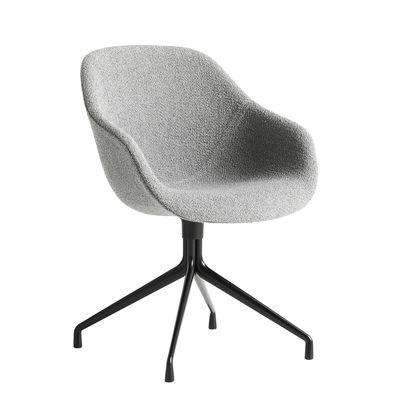 Mobilier - Fauteuils de bureau - Fauteuil pivotant About a chair AAC121 / Dossier haut - Rembourré - Tissu intégral - Hay - Tissu gris / Pied noir - Fonte d'aluminium vernie, Mousse polyuréthane, Polypropylène renforcé, Tissu bouclé