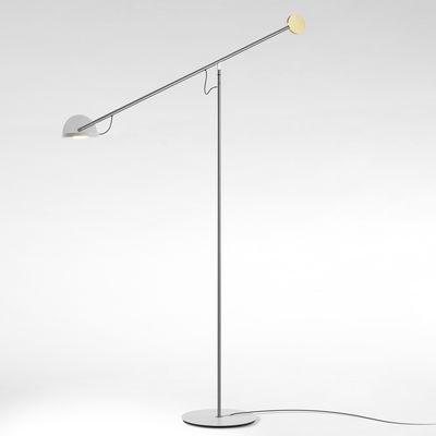 Lighting - Floor lamps - Copérnica Floor lamp - / H 130 cm by Marset - Nickel / White & gold - Aluminium, Nickel, Steel