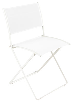 Furniture - Chairs - Plein Air Folding chair - Fabric by Fermob - White - Cloth, Galvanized steel