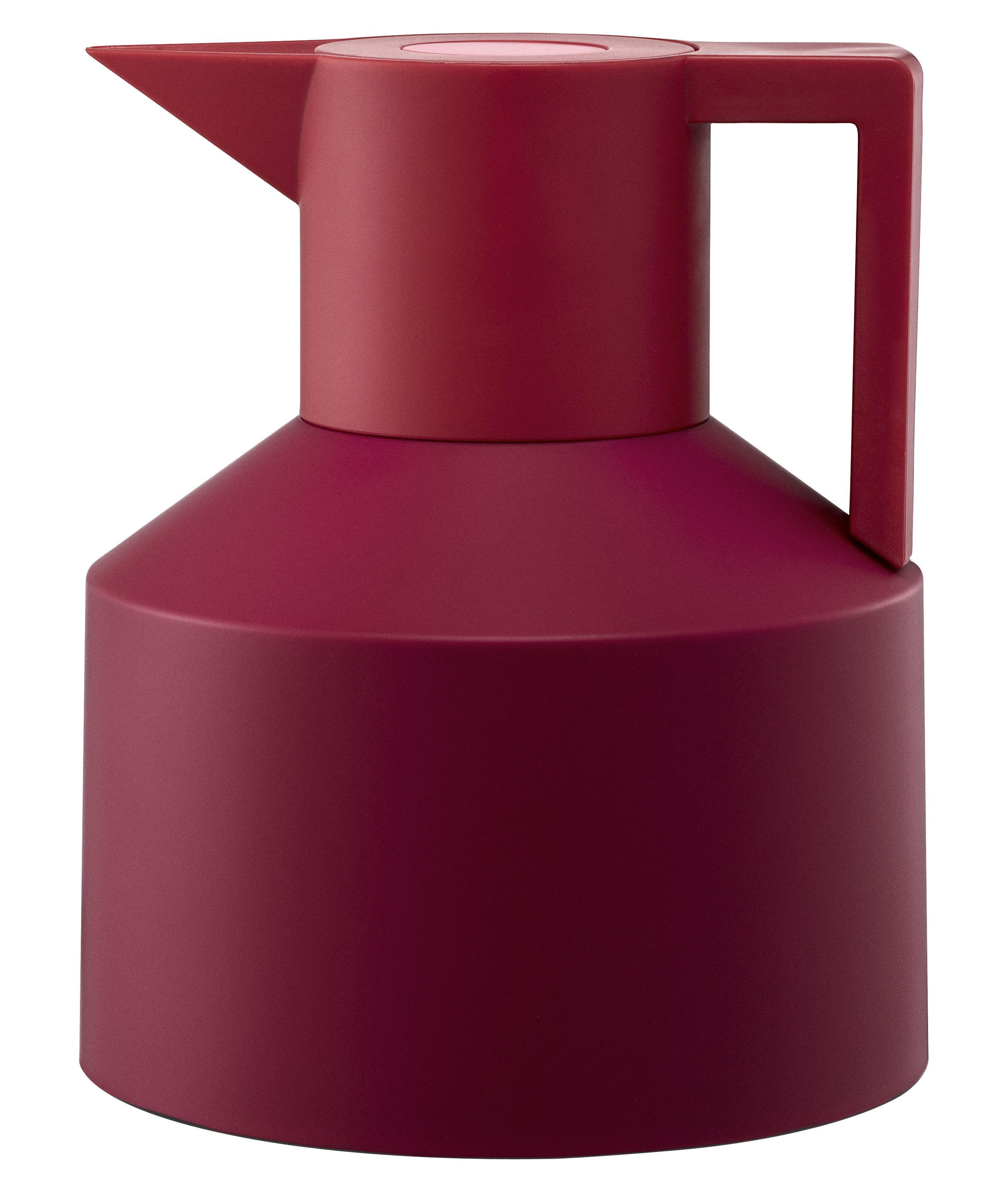 Tischkultur - Tee und Kaffee - Geo Isolierkrug - Normann Copenhagen - Himbeer / rot mit rosafarbenem Druckknopf - Plastik