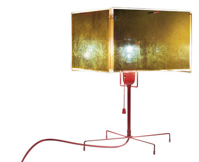Illuminazione - Lampade da tavolo - Lampada da tavolo 24 Karat Blau T di Ingo Maurer - Oro e rosso - Foglio d'oro, Plastica