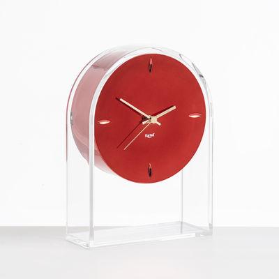 Interni - Orologi  - Orologio da posare L'Air du temps - / H 30 cm di Kartell - Rosso / Cristallo - Tecnopolimero termoplastico