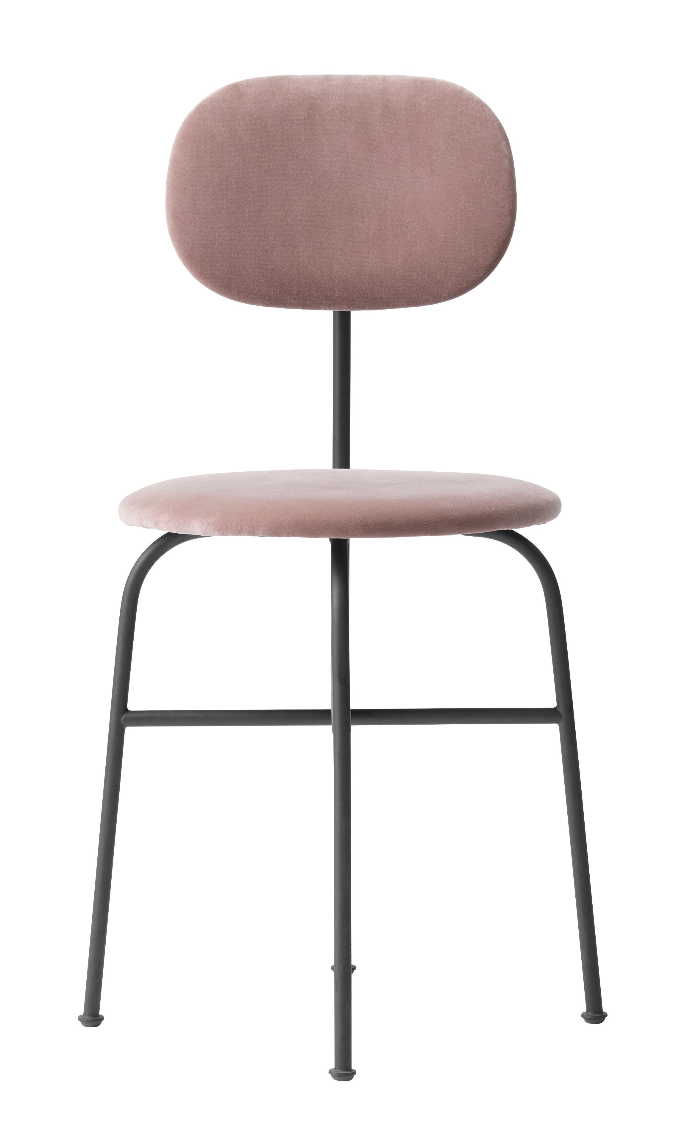 Furniture - Chairs - Afteroom Padded chair - / Velvet by Menu - Pink / Black velvet - Plywood, Powder steel, Velvet