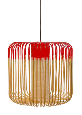 Lighting - Pendant Lighting - Bamboo Light M Pendant - H 40 x Ø 45 cm by Forestier - Red / Natural - Fabric, Metal, Natural bamboo