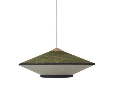 Lighting - Pendant Lighting - Cymbal Medium Pendant - / Ø 70 - Velvet by Forestier - Green - Fabric, Oak, Velvet
