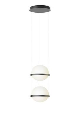 Lighting - Wall Lights - Palma Pendant - / Verticale double by Vibia - Laqué graphite mat - Aluminium, Opalin mouth blown glass