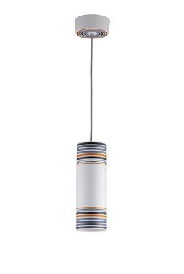 May Pendelleuchte / handbemalt - Ø 10 cm x H 28 cm - Original BTC - Weiß,Orange,Grau