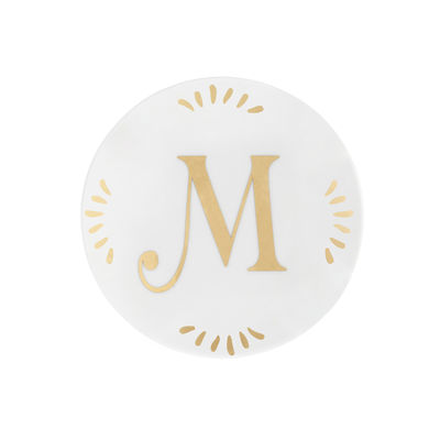 Tableware - Plates - Lettering Petit fours plates - Ø 12 cm / Letter M by Bitossi Home - Letter M / Gold - China