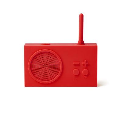 Accessoires - Réveils et radios - Radio sans fil Tykho 3 / Enceinte Bluetooth - Lexon - Rouge - Gomme siliconée