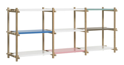 Möbel - Regale und Bücherregale - Woody low Regal L 206 x H 85 cm - Hay - Eiche natur - Regalböden mehrfarbig - lackierter Stahl, massive Eiche