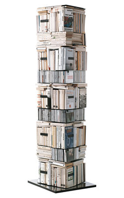 Furniture - Bookcases & Bookshelves - Ptolomeo Rotating bookshelf - 4 sides- Horizontal/vertical storage by Opinion Ciatti - Polished steel - Black - H 197 cm - Lacquered steel