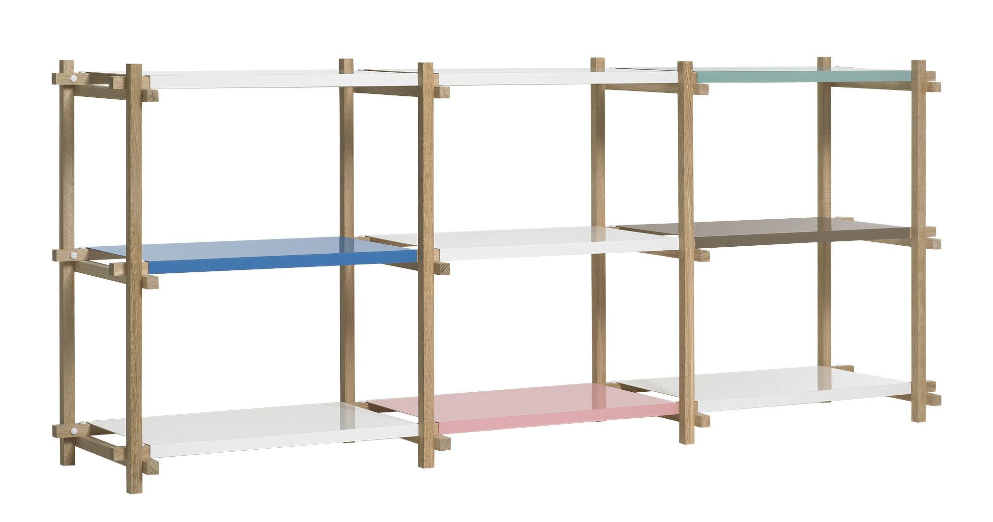 Arredamento - Scaffali e librerie - Scaffale Woody low - L 206 x A 85 cm di Hay - Rovere naturale / Scaffali multicolori - Acciaio laccato, Rovere massello