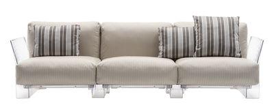 Pop outdoor Sofa / 3-Sitzer - L 255 cm - Kartell - Transparent,Beige