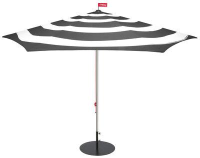 Outdoor - Sonnenschirme - Stripesol Sonnenschirm / Ø 350 cm - Fatboy - Anthrazit-grau - Aluminium, Polyesterfaser