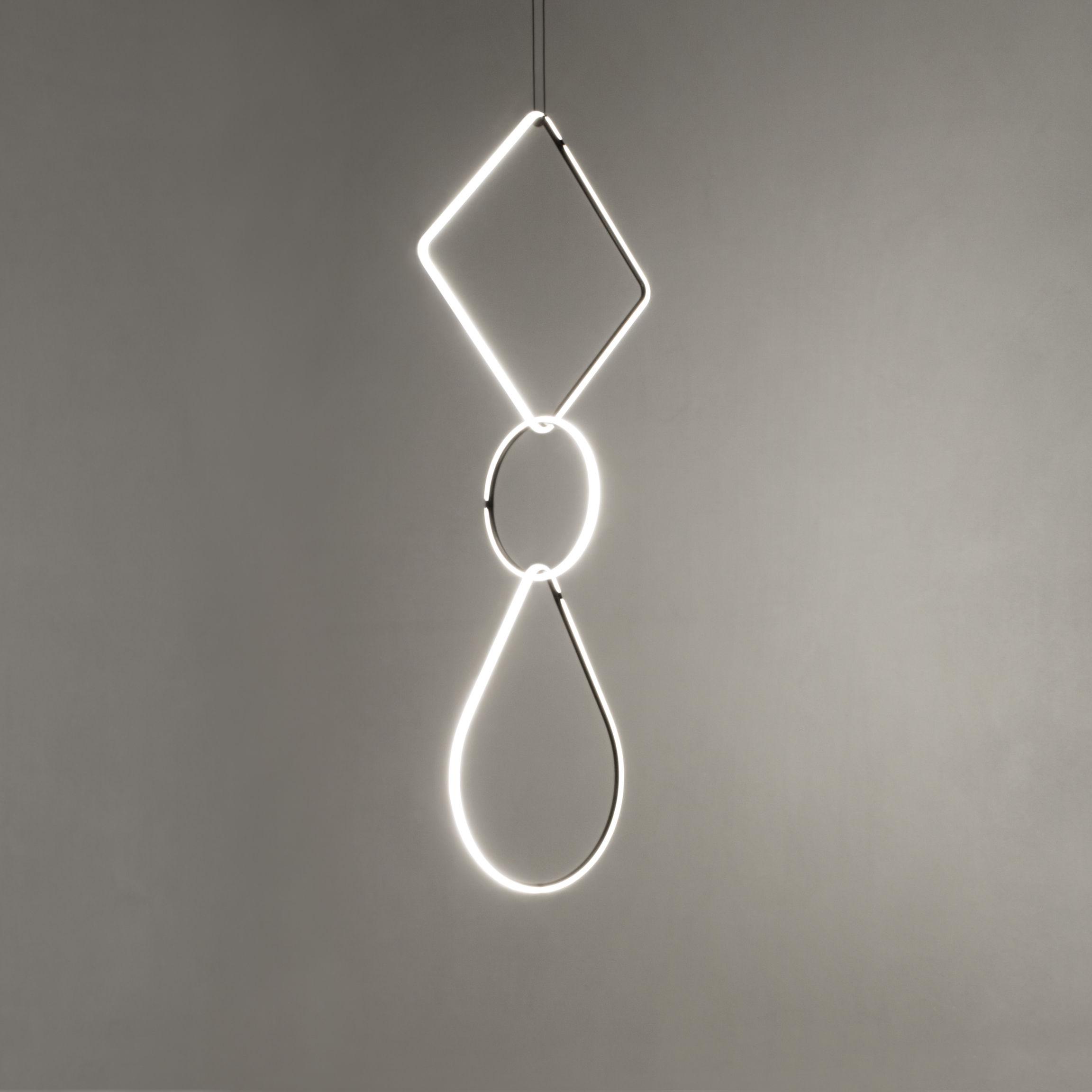 Illuminazione - Lampadari - Sospensione Arrangements 1 LED - / 3 elementi - H 180 x L 52 cm di Flos - Bianco & Nero - alluminio verniciato, policarbonato