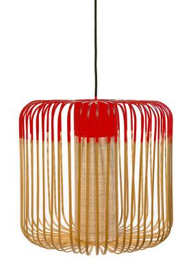 Illuminazione - Lampadari - Sospensione Bamboo Light M - / H 40 x Ø 45 cm di Forestier - Rosso / Naturale - Bambù naturale, Metallo, Tessuto