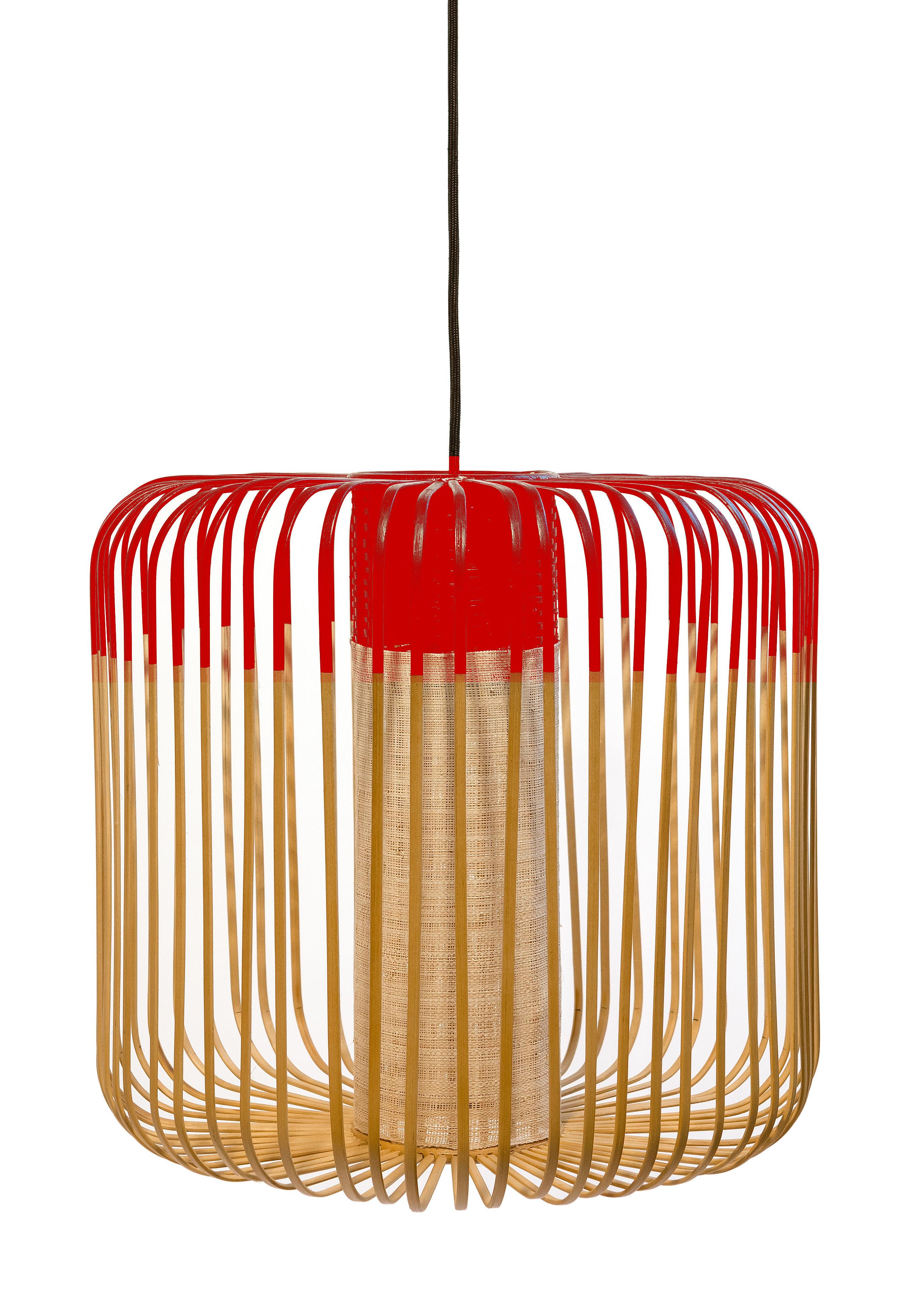Illuminazione - Lampadari - Sospensione Bamboo Light M - / H 40 x Ø 45 cm di Forestier - Rosso / Naturale - Bambou naturel, Metallo, Tessuto