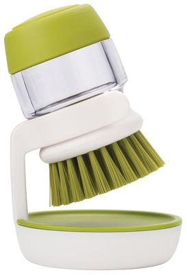 Cucina - Pulizia - Spazzola per stoviglie Palm Scrub - / Con serbatoio integrato + supporto di Joseph Joseph - Spazzola serbatoio & supporto / Verde & Bianco - Nylon, Polipropilene