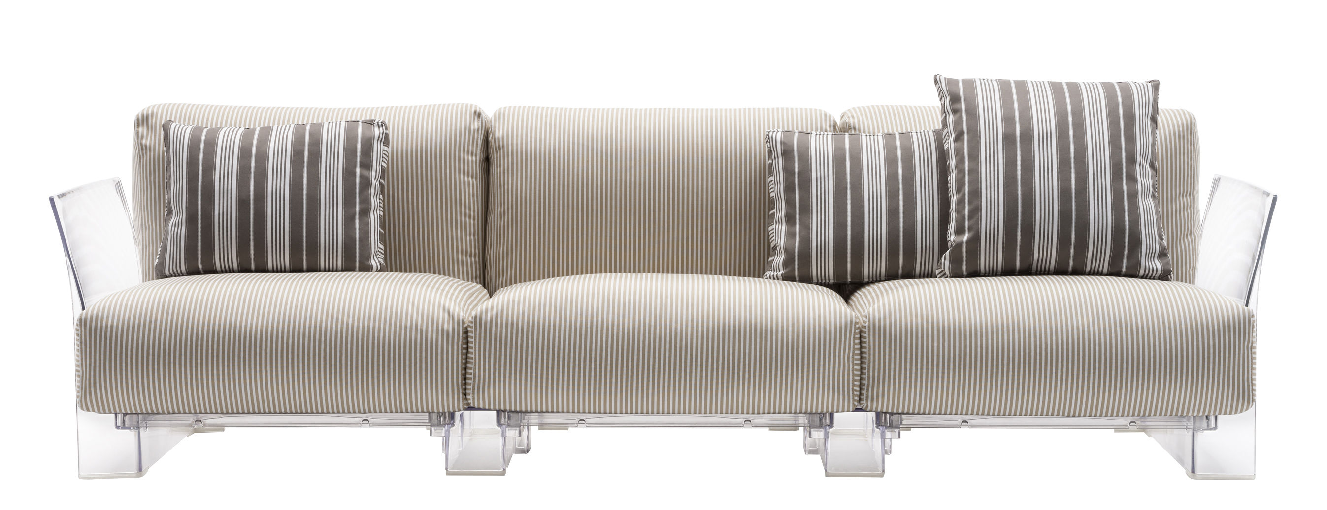 Furniture - Sofas - Pop outdoor Straight sofa - 3 seaters / L 255 cm by Kartell - Beige stripes / Transparent - Expanded polyurethane, Polycarbonate, Water repellant fabric