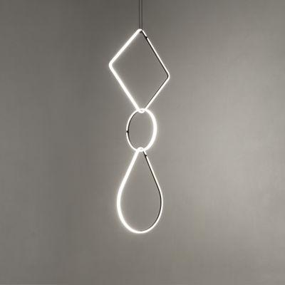 Luminaire - Suspensions - Suspension Arrangements 1 LED / 3 éléments - H 180 x L 52 cm - Flos - Noir & Blanc - Aluminium peint, Polycarbonate
