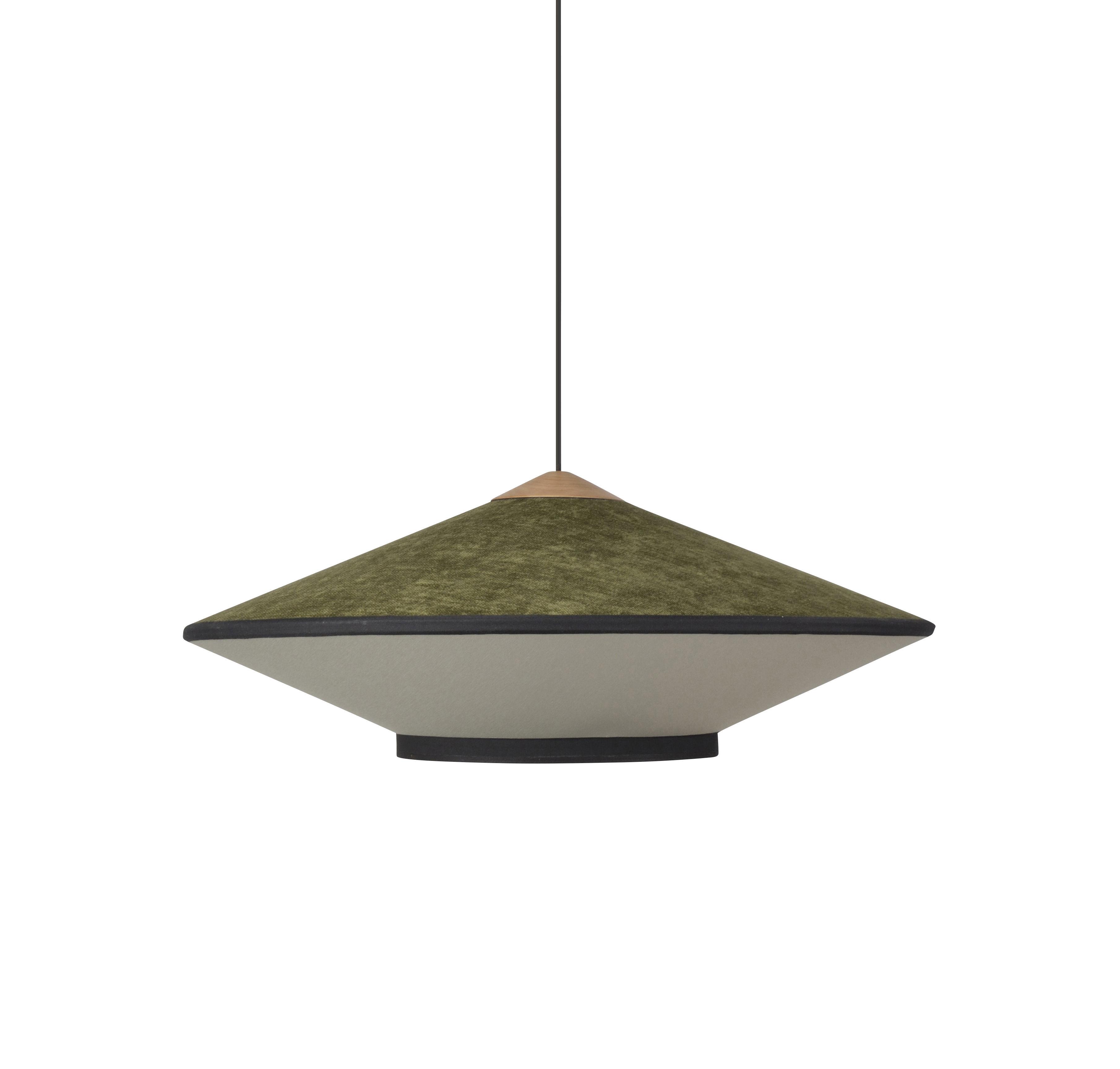 Luminaire - Suspensions - Suspension Cymbal Medium / Ø 70 - Velours - Forestier - Vert - Chêne, Tissu, Velours