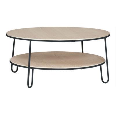 Table basse Eugénie Large / Chêne - Ø 90 - Hartô gris/bois naturel en bois