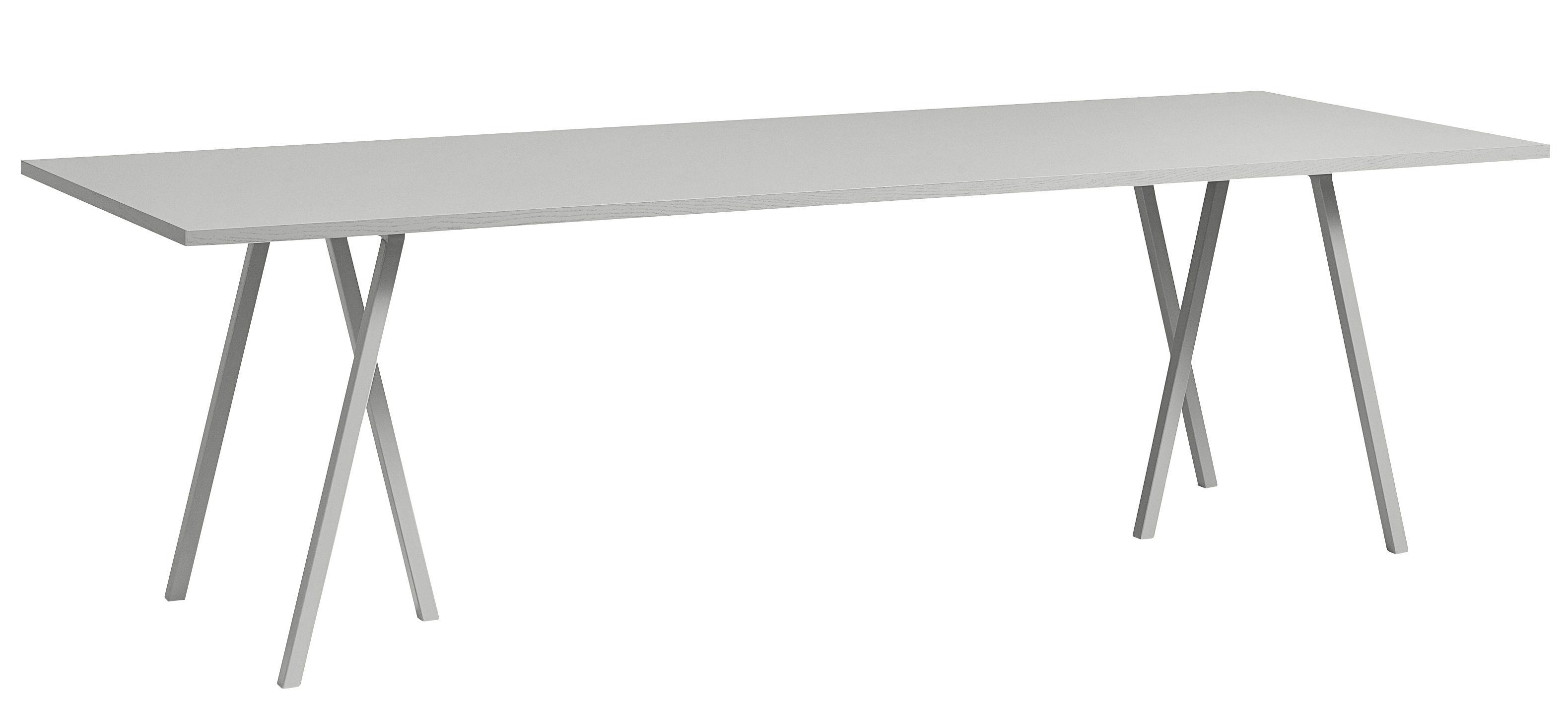 Mobilier - Bureaux - Table rectangulaire Loop / L 250 cm - Hay - Gris - Acier laqué