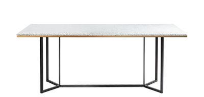Dossiers - Tendance Nature moderne - Table rectangulaire Terrazzo / 190 x 90 cm - RED Edition - Blanc - Acier laqué, Bois, Laiton, Terrazzo