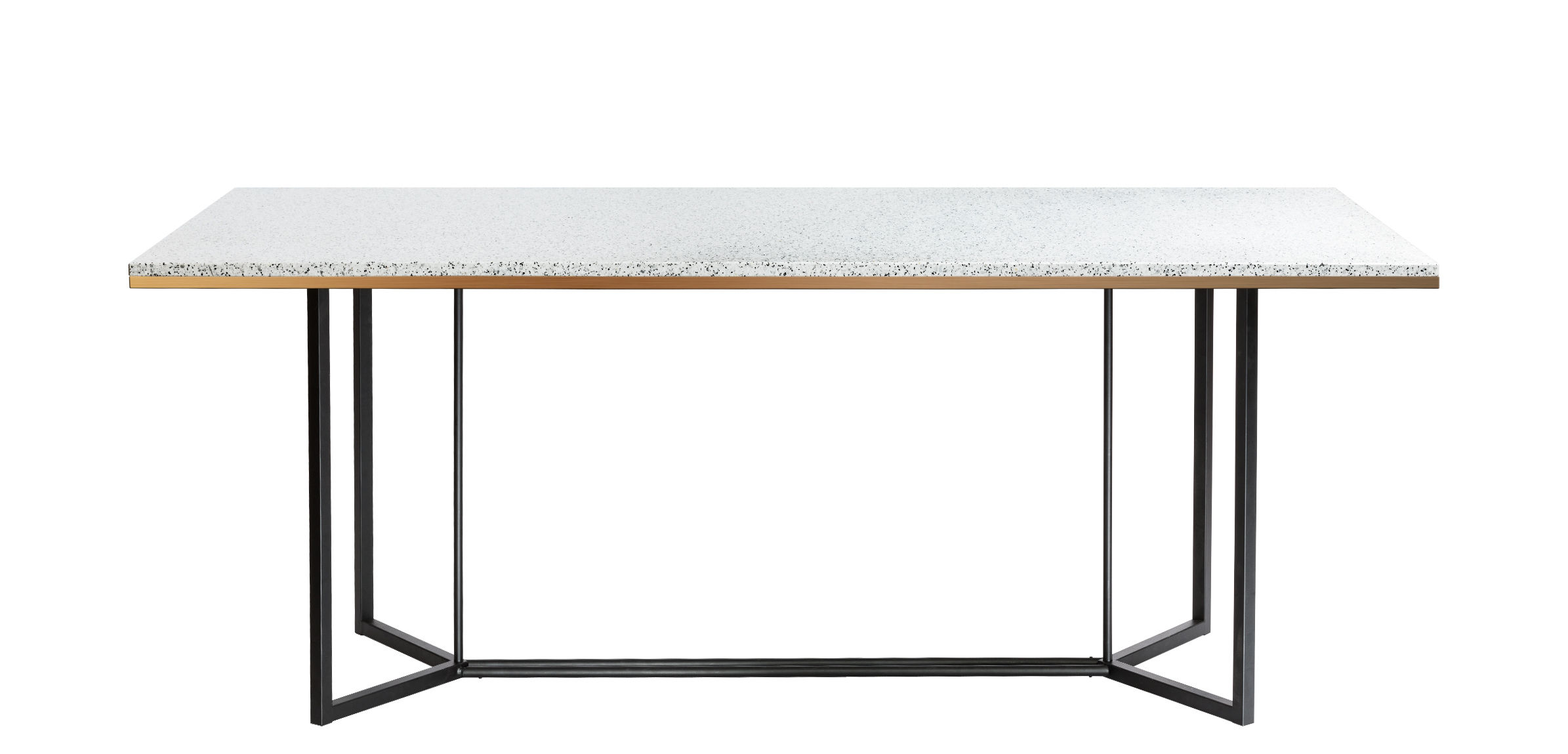 Dossiers - Tendance Nature moderne - Table Terrazzo / 190 x 90 cm - RED Edition - Blanc - Acier laqué, Bois, Laiton, Terrazzo