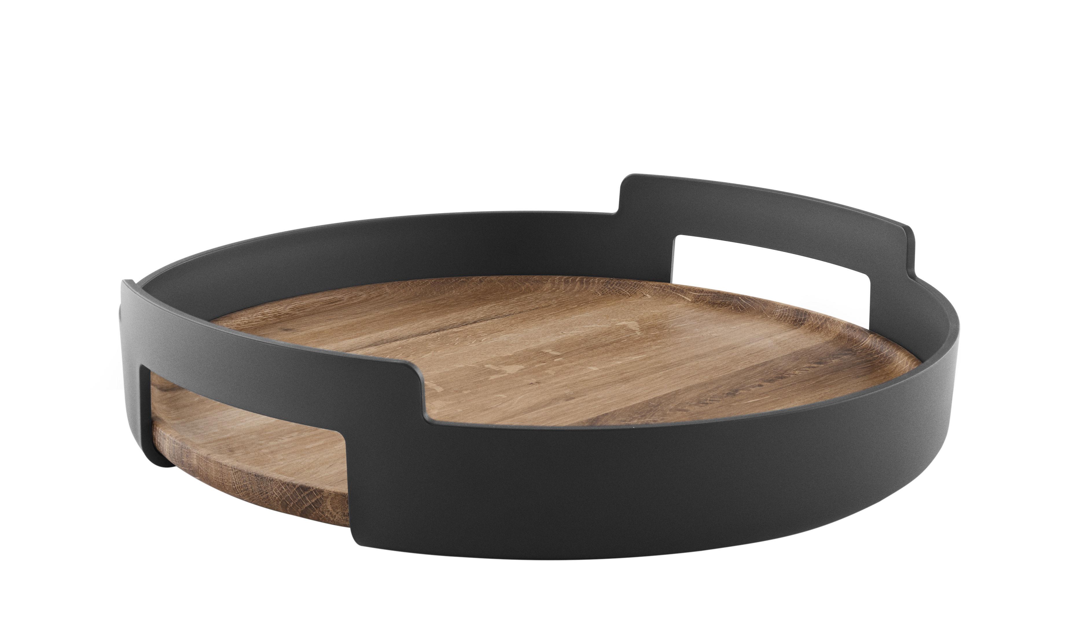 Tischkultur - Tabletts - Nordic Kitchen Tablett / Ø 35 cm - Eva Solo - Schwarz matt & Eiche natur - massive Eiche, Polypropylen