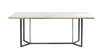 Dossiers - Natura moderna - Tavolo rettangolare Terrazzo - / 190 x 90 cm di RED Edition - Bianco - Acciaio laccato, Legno, Ottone, Terrazzo