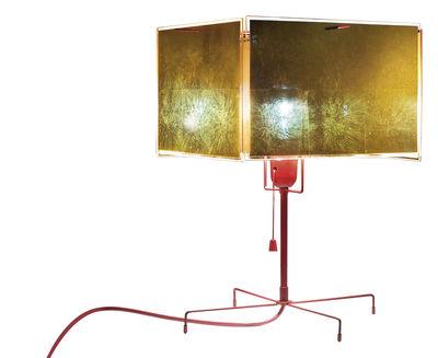 Leuchten - Tischleuchten - 24 Karat Blau T Tischleuchte - Ingo Maurer - Gold und rot - Blattgold, Plastik