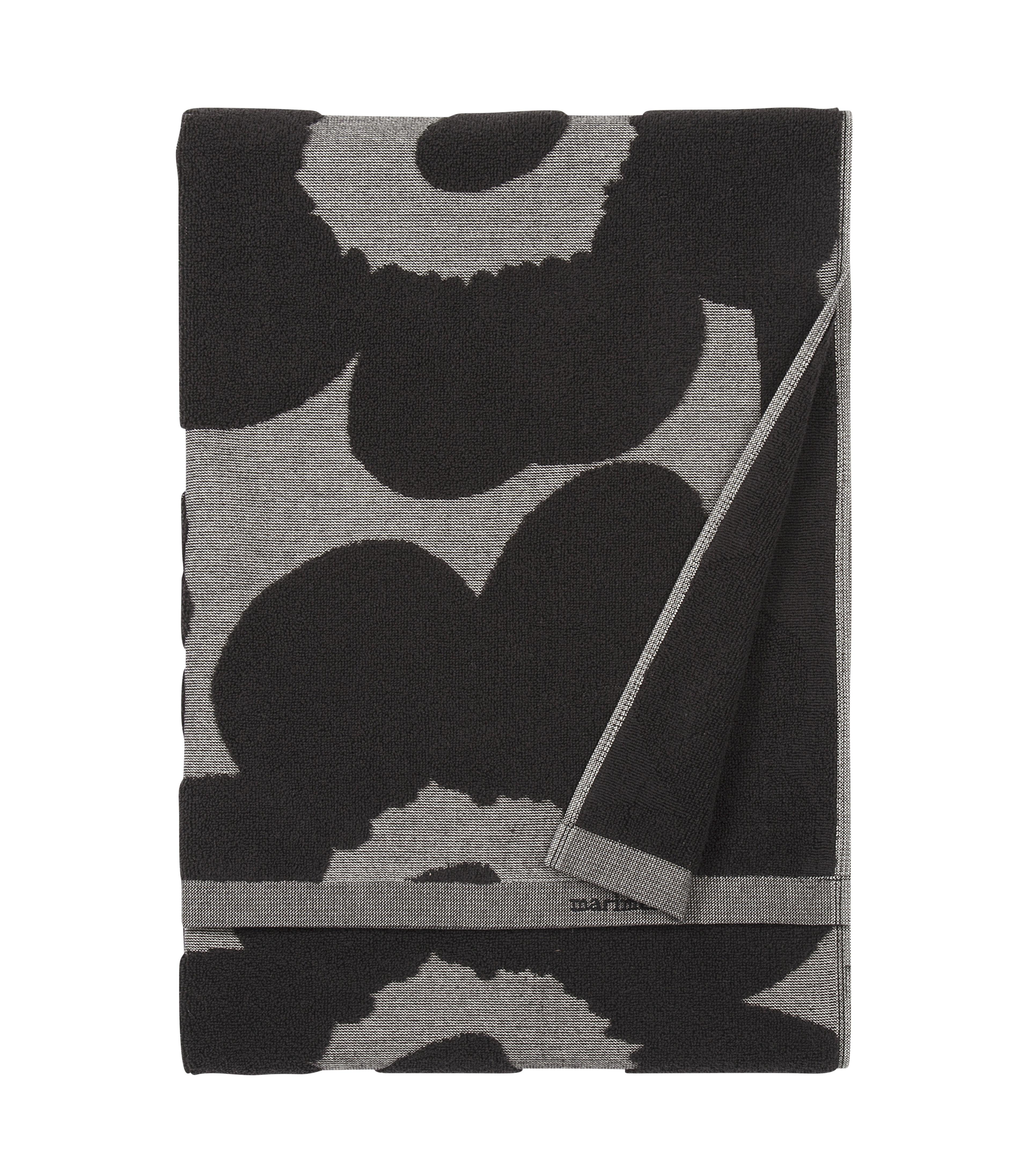 Accessories - Bathroom Accessories - Unikko Towel - / 50 x 70 cm by Marimekko - Unikko / Black & grey - Cotton
