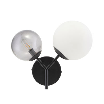 Lighting - Wall Lights - Twice Wall light with plug - / Metal & glass - L 50 cm by House Doctor - White & grey / Black - Blown glass, Painted iron