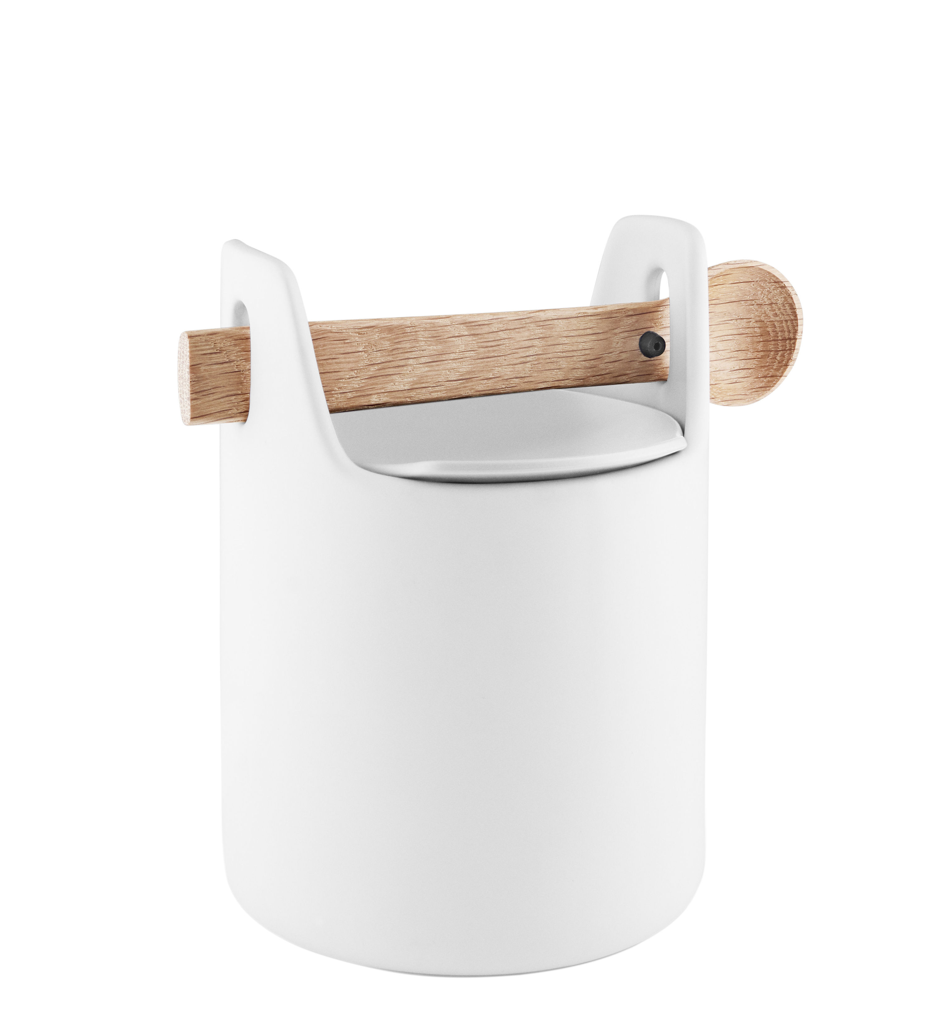 Kitchenware - Kitchen Storage Jars - Toolbox Small Airproof jar - / Wooden lid & spoon by Eva Solo - White / Oak - Ceramic, Silicone, Solid oak