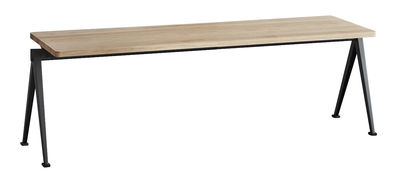 Banc empilable Pyramid 11 / L 140 cm - Rééditon 1959 - Hay noir/bois naturel en métal/bois