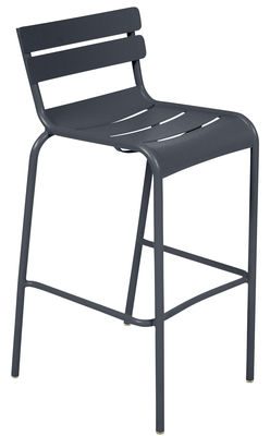 Furniture - Bar Stools - Luxembourg Bar chair - H 80 cm - Metal by Fermob - Anthracite - Lacquered aluminium