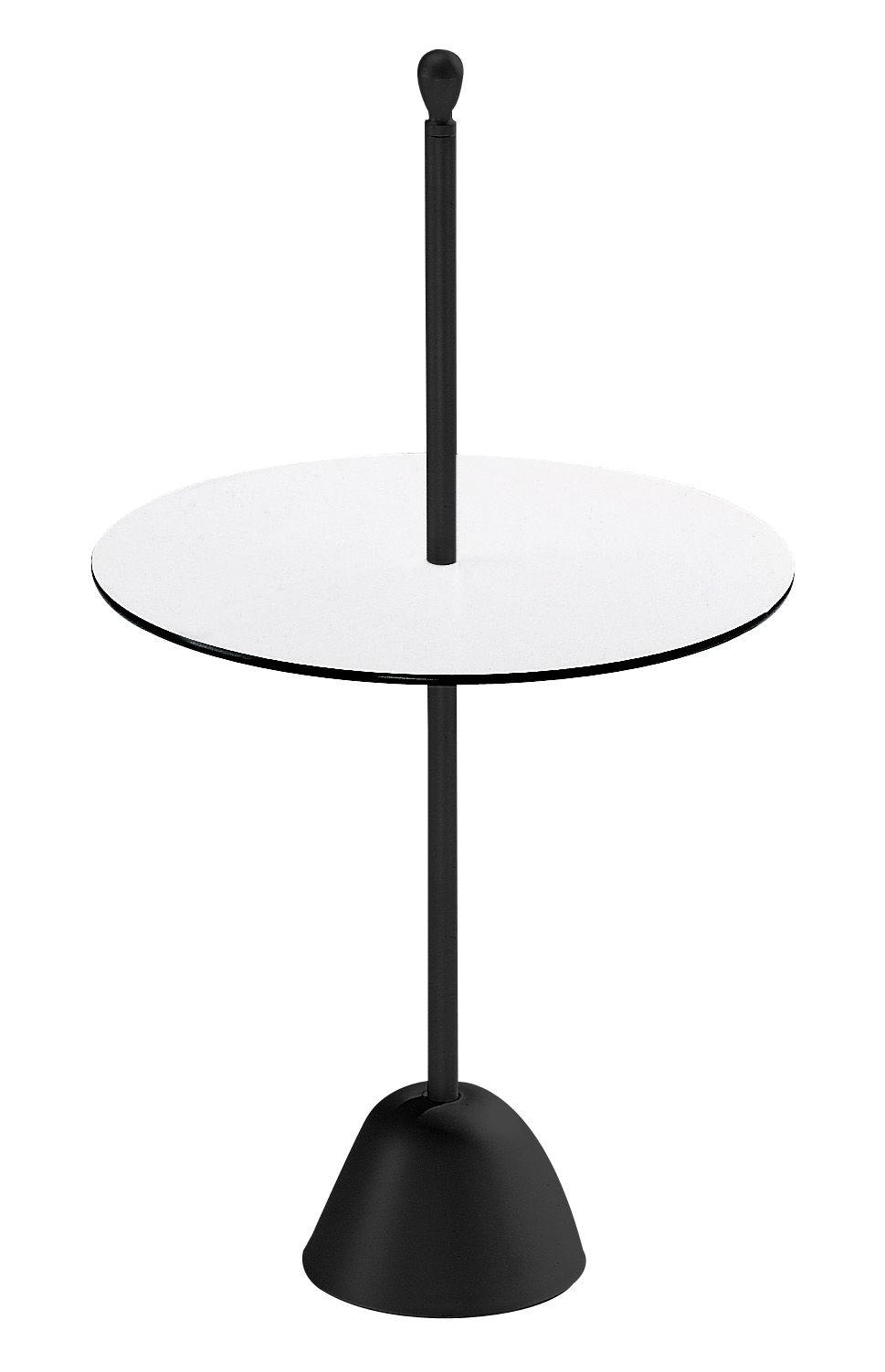 Möbel - Couchtische - Servomuto Beistelltisch - Zanotta - Schwarz - Tischplatte schwarz/weiß - gefirnister Stahl, stratifiziertes Laminat